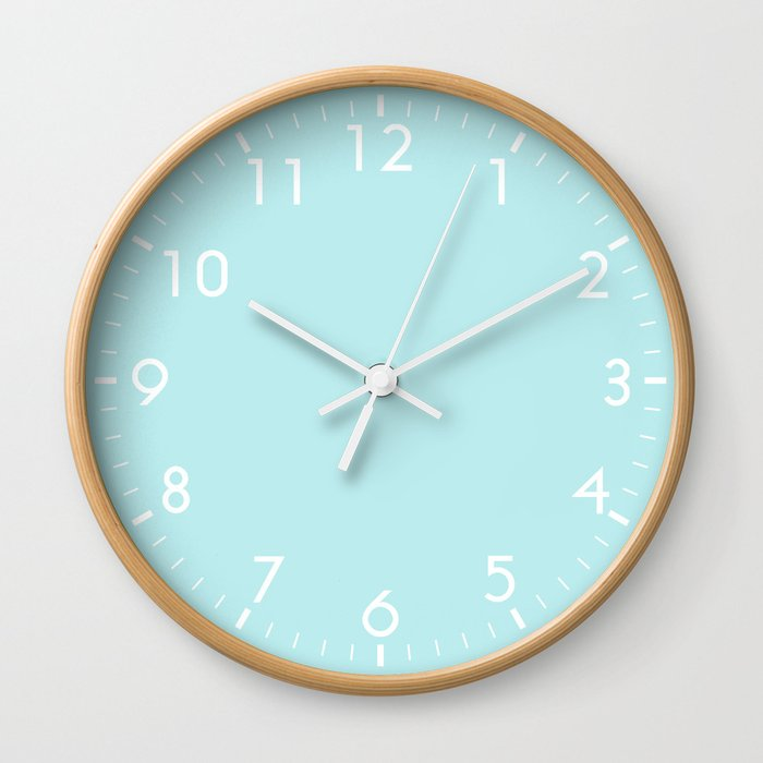 Pastel Turquoise Blue Wall Clock By Beautifulhomes Society6