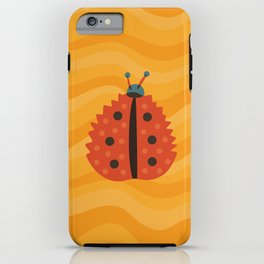 Orange Ladybug Autumn Leaf iPhone Case