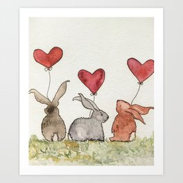 Honey Bunny Love Art Print