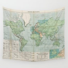 Flemmings Kriegskarten / Flemming's War Maps (1917) - 037 Map of the World, 1917 Wall Tapestry