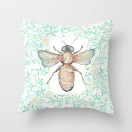 Garden Bee and Blooming Flowers Throw Pillow