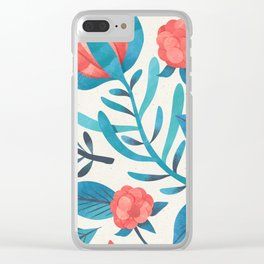 Floral Seamless Pattern Pink Red flowers Blue Plants Pastel Pattern Clear iPhone Case