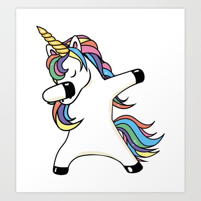 Dabbing unicorn art print by tingsy society6 - Unicorn dabbing pictures ...