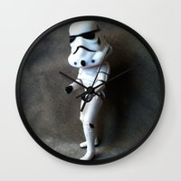 storm trooper Wall Clocks featuring Storm Trooper by mchlsrr