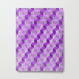 Purple And Silver Geometric Cubes Metal Print