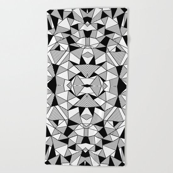 Ab Lines Tile with Black Blocks Beach Towel