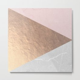 Geo tri - rose gold & concrete Metal Print