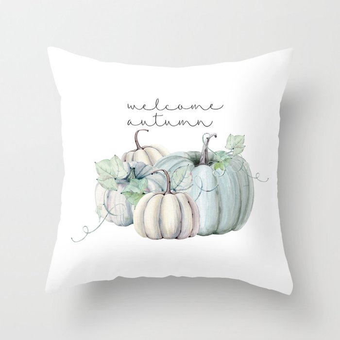 welcome autumn blue pumpkin Throw Pillow
