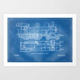 Steam Train Diagram - Blueprint Style Art Print