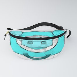 blue pig portrait geometric triangle pattern abstract Fanny Pack