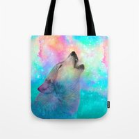 hobbes Tote Bags featuring Breathing Dreams Like Air (Wolf Howl Abstract) by soaring anchor designs