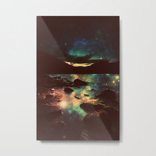 Dark Magical Mountain Lake Metal Print