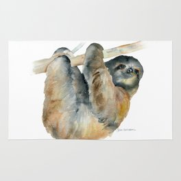Sloth Watercolor Painting Rug