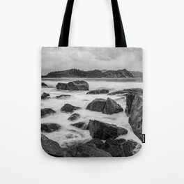 Rocky Ocean Black And White Tote Bag