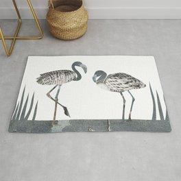 Flamingos in Silvery Blue Rug