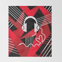 Red Love Gamer Headset Throw Blanket