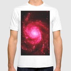 Spiral GalAXy : Hot Pink White MEDIUM Mens Fitted Tee