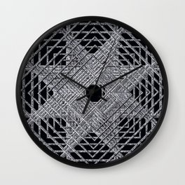Rectilinear crackle black and white.psd Wall Clock