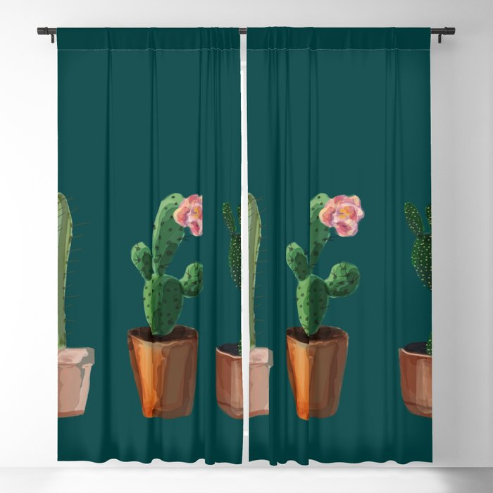 Three Cacti On Green Background Blackout Curtain