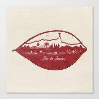 rio de janeiro Canvas Prints featuring Rio de Janeiro Skyline by Paula Belle Flores