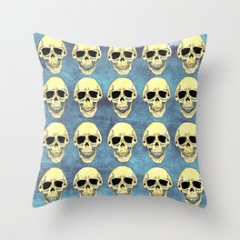 Skulls at the party - teal Throw Pillow