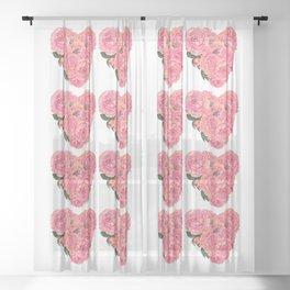 Margie's Loving Heart-Pink Roses Sheer Curtain