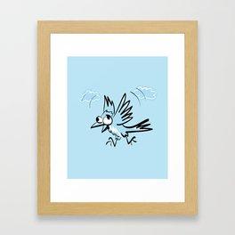Idiot fliying bird Framed Art Print