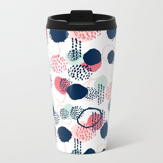 Orly - abstract painting minimal trendy girly gender neutral pattern decor Metal Travel Mug