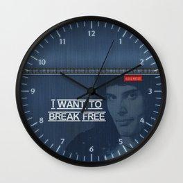 I Want To Break Free - Mercury on Blue Jeans Wall Clock
