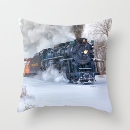 North Pole Express Train (Steam engine Pere Marquette 1225) Throw Pillow