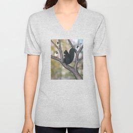 black capped chickadees and black squirrel Unisex V-Neck
