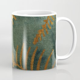 Golden Cycas leaves on dark green canvas Coffee Mug