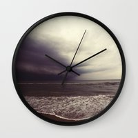 storm Wall Clocks featuring Storm by Neon Wildlife