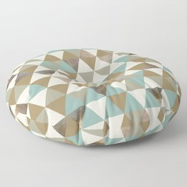 Blue and Tan Metallic Triangles Floor Pillow