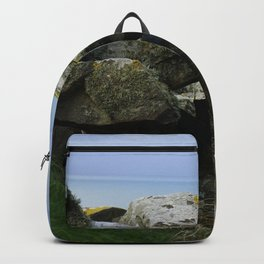 Lichen Covered Rocks in Front of the Blue Horizon Backpack