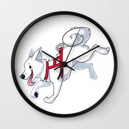 White Husky Running Wall Clock