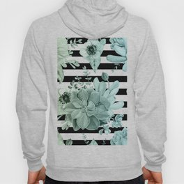 Succulents in the Garden Teal Blue Green Gradient with Black Stripes Hoody