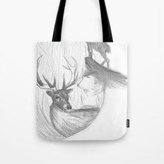 Stag and man Tote Bag