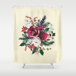 Christmas Winter Floral Bouquet No Text Shower Curtain