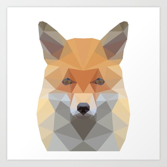 Fox Abstract Low Poly Art Print