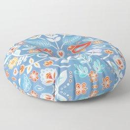 Happy Folk Summer Floral on Light Blue Floor Pillow