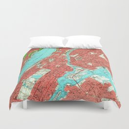 Vintage Map of Uptown Manhattan & The Bronx (1956) Duvet Cover