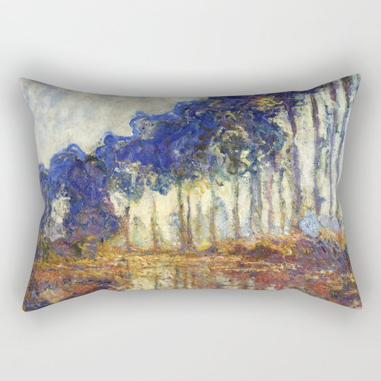 Poplars on the Bank of the Epte River by Claude Monet Rectangular Pillow
