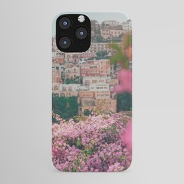 Positano, Italy Travel Photography with Pink Flowers iPhone Case