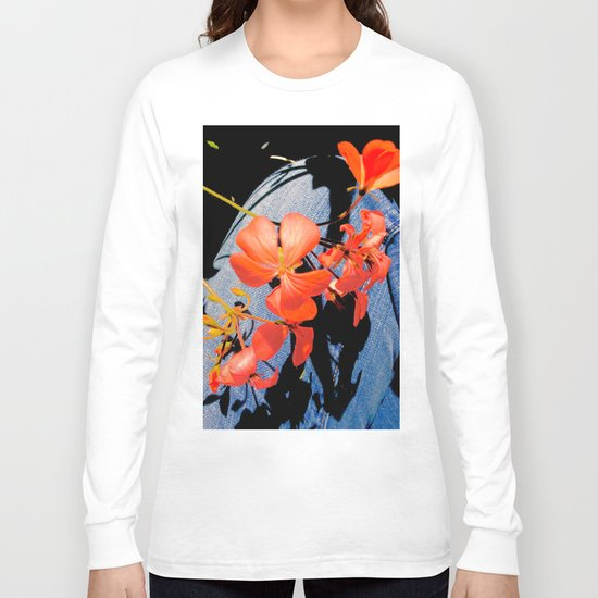 Geranium flowers on blue jean Long Sleeve T-shirt