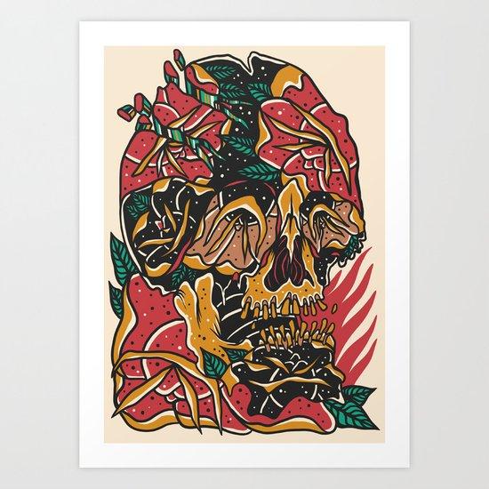 Roses Skull Art Print