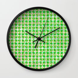 Lucky with gold horseshoes and four leaf clovers Wall Clock