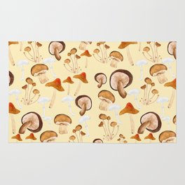 mushroom pattern watercolor painting Rug