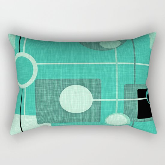 orbs and square emerald Rectangular Pillow