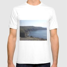 Along The Cliff Edge! White MEDIUM Mens Fitted Tee